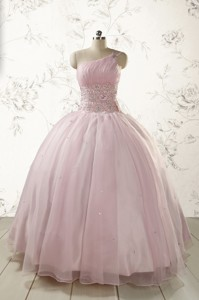 One Shoulder Beading Light Pink Quinceanera Dress