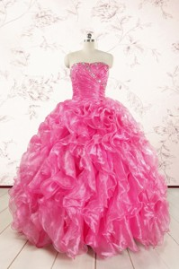 Pretty Hot Pink Quinceanera Dress With Appliques And Ruffles