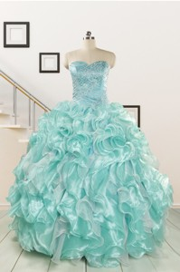Beautiful Beading Quinceanera Dress In Apple Green