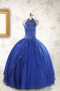 Haltertop Appliques And Beading Dress For 15 In Royal Blue