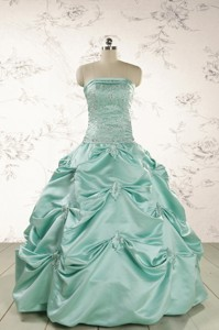 Cheap Turquoise Quinceanera Dress With Appliques