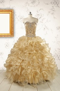 Luxurious Champange Quinceanera Dress With Beading