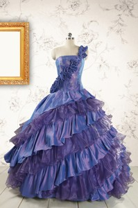 Remarkable One Shoulder Hand Made Flowers And Ruffles Quinceanera Dress
