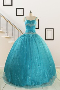 Perfect Spaghetti Straps Appliques Sequins Turquoise Quinceanera Dress