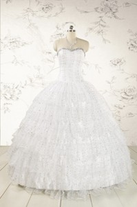 The Most Popular White Sequins Ball Gown Quinceanera Dress