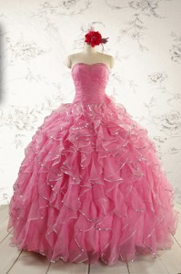 Pretty Beading Quinceanera Dress In Rose Pink