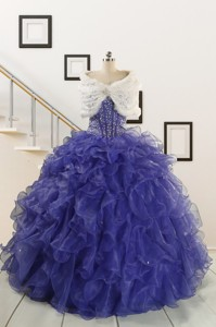 Sweetheart Ruffles Purple Quinceanera Dress With Wraps