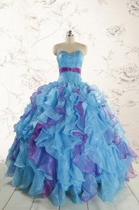 New Style Multi Color Quinceanera Dress With Beading And Ruffles
