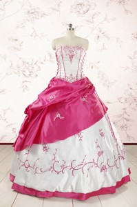 Luxurious Embroidery Sweet 15 Dress In White And Hot Pink
