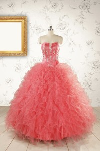 Watermelon Red Exquisite Quinceanera Dresswith Appliques And Ruffles