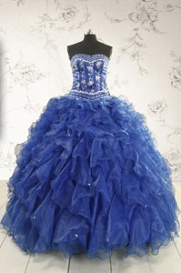 Beautiful Beading And Ruffles Quinceanera Dress In Royal Blue