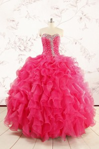 Pretty Beading Sweet 15 Dress In Hot Pink