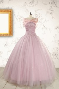 Light Pink Appliques Strapless Sweet 16 Dress With Wrap