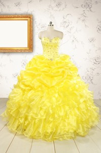 Popular Sweetheart Yellow Quinceanera Dress With Beading