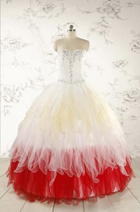 Unique Multi Color Sweetheart Ruffled Quinceanera Dress Wth Beading