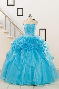 Fashionable Sweetheart Beading Quinceanera Dress In Aqua Blue
