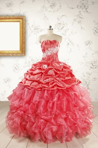 Luxurious Sweetheart Beading Quinceanera Dress In Watermelon
