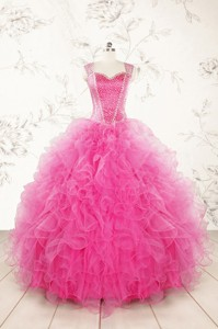 Pretty Straps Hot Pink Quinceanera Dress With Beading