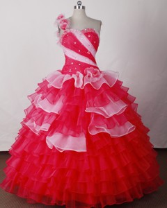 Perfect Ball Gown One Shoulder Neck Floor-length Quinceanera Dress