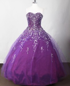 Beautiful Ball Gown Strapless Floor-length Purple Quinceanera Dress