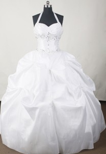 Simple Ball Gown Halter Floor-length White Quinceanera Dress
