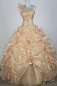Exclusive Ball Gown One Shoulder Floor-length Champagne Quinceanera Dress
