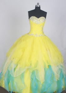 Gorgeous Ball Gown Sweetheart Neck Floor-length Yellow Quinceanera Dress
