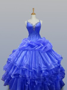 Wonderful Straps Quinceanera Gowns With Beading In Organza