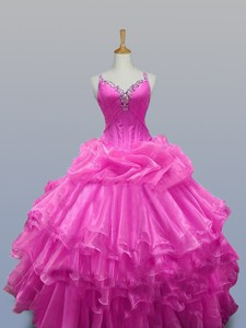 Perfect Straps Quinceanera Dress With Beading And Ruffled Layers