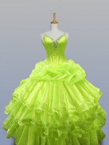 Luxurious Straps Quinceanera Dress With Ruffled Layers
