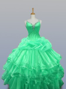 Straps Quinceanera Dress With Beading And Ruffled Layers