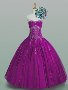 Elegant Strapless Beaded Quinceanera Dress With Appliques