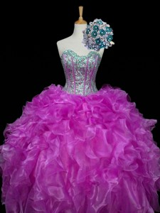 Perfect Ball Gown Fuchsia Quinceanera Dress With Sequins And Ruffles