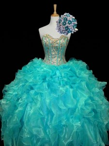 New Arrival Sweetheart Mint Quinceanera Dress With Sequins And Ruffles