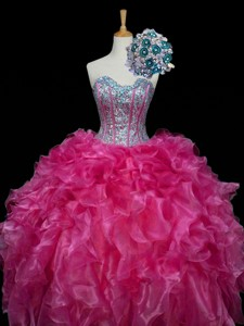 Perfect Sweetheart Hot Pink Quinceanera Dress With Sequins And Ruffles