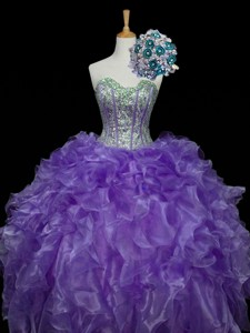 Pretty Sweetheart Purple Quinceanera Dress With Sequins And Ruffles