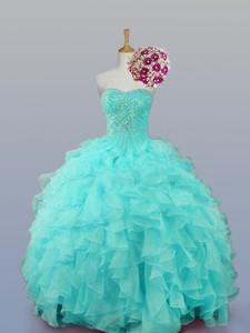 Sweetheart Quinceanera Dress With Beading And Ruffles