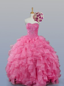 Fashionable Sweetheart Quinceanera Dress With Beading And Ruffles