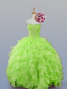 Perfect Sweetheart Beaded Quinceanera Dress With Ruffles