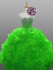 Sweetheart Quinceanera Dress With Beading And Rolling Flowers