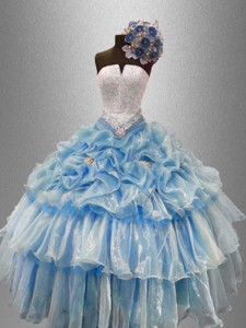Pretty Strapless Beaded Quinceanera Gowns with Ruffled Layers