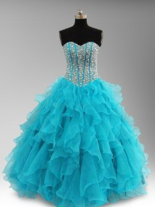 Elegant Beaded And Ruffles Quinceanera Dress In Aqua Blue