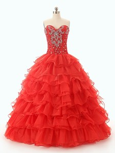 Popular Beaded And Ruffled Layers Quinceanera Dress In Red