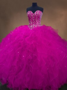 Popular Beaded Fuchsia Sweet 16 Dress With Sweetheart