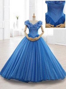 Exclusive Appliques Off The Shoulder Sweet 16 Dress In Blue