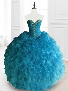 Latest Beading And Ruffles Sweetheart Quinceanera Dress In Blue