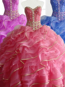 Modest Ball Gown Quinceanera Dress With Beading And Ruffles
