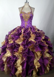 Brand New Ball Gown Halter Top Neck Floor-length Quinceanera Dress