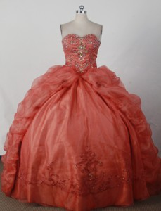 Luxurious Ball Gown Strapless Floor-length RedQuinceanera Dress