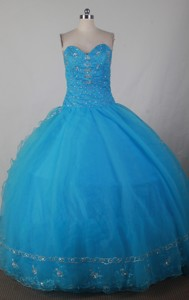 Luxurious Ball Gown SWeetheart Floor-length Blue Quinceanera Dress